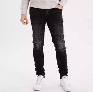 American Eagle Black Moto AirFlex Stacked Jeans
